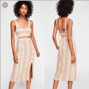 Free People Striped Ultraviolet Midi Dress